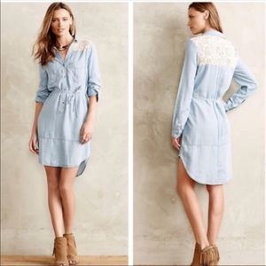 Holding Horses Chambray Lace Belted Dress - sz M